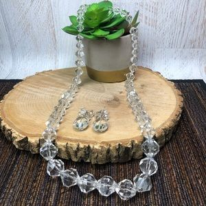 Vintage Glass Beaded Necklace & Earrings